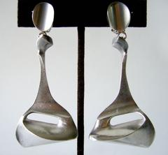Bjorn Weckstrom for Lapponia Sterling Silver Space Age Earrings
