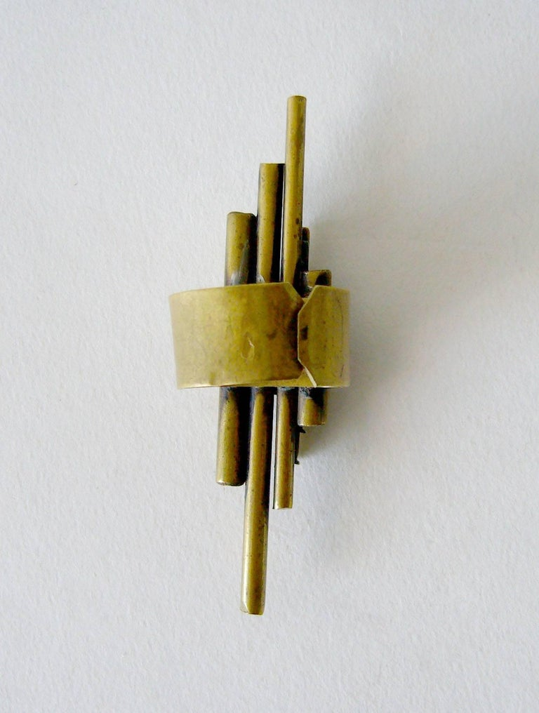 Women's 1970s Industria Argentina Modernist Bronze Tube Ring For Sale