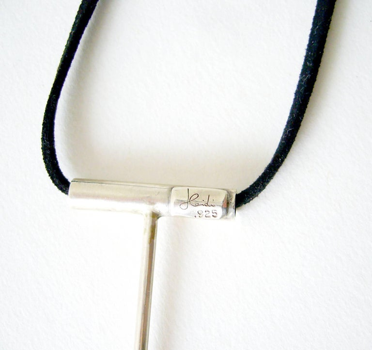 Heidi Abrahamson Sterling Pearl Minimalist Pendant Necklace In New Condition For Sale In Los Angeles, CA