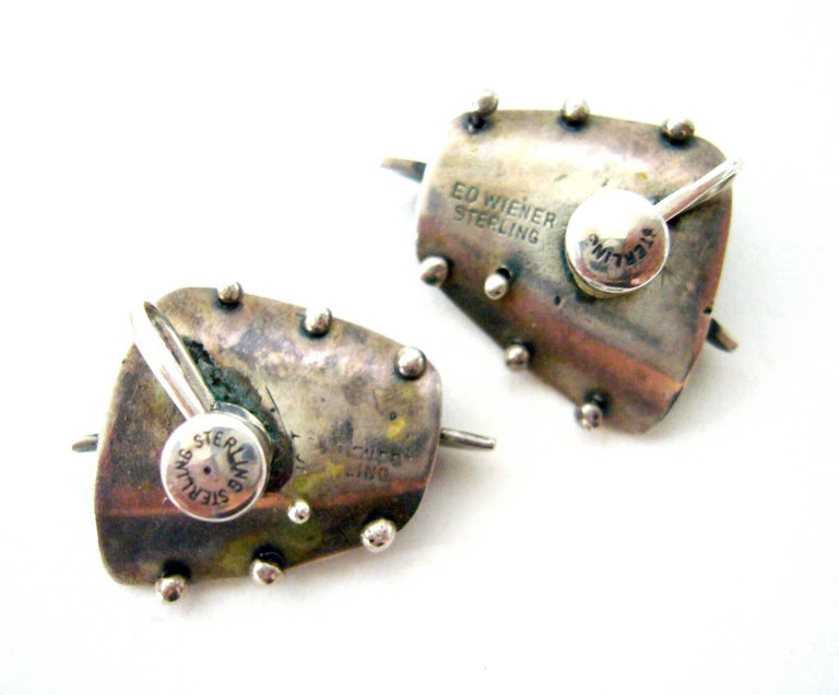 Ed Wiener Coral Sterling Silver Abstract American Modernist Earrings In Good Condition For Sale In Los Angeles, CA
