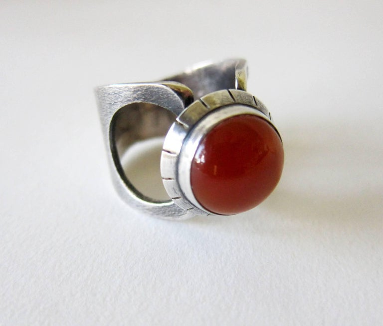 James Parker Sterling Silver Carnelian San Diego Modernist Ring In Good Condition For Sale In Los Angeles, CA