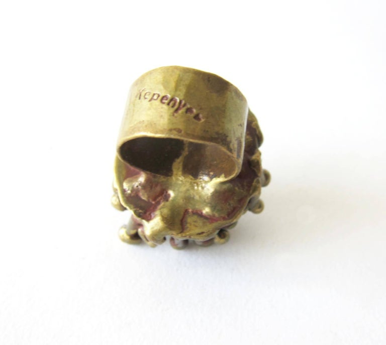 Pal Kepenyes Pyrite Bronze Brutalist Ring In Excellent Condition For Sale In Los Angeles, CA