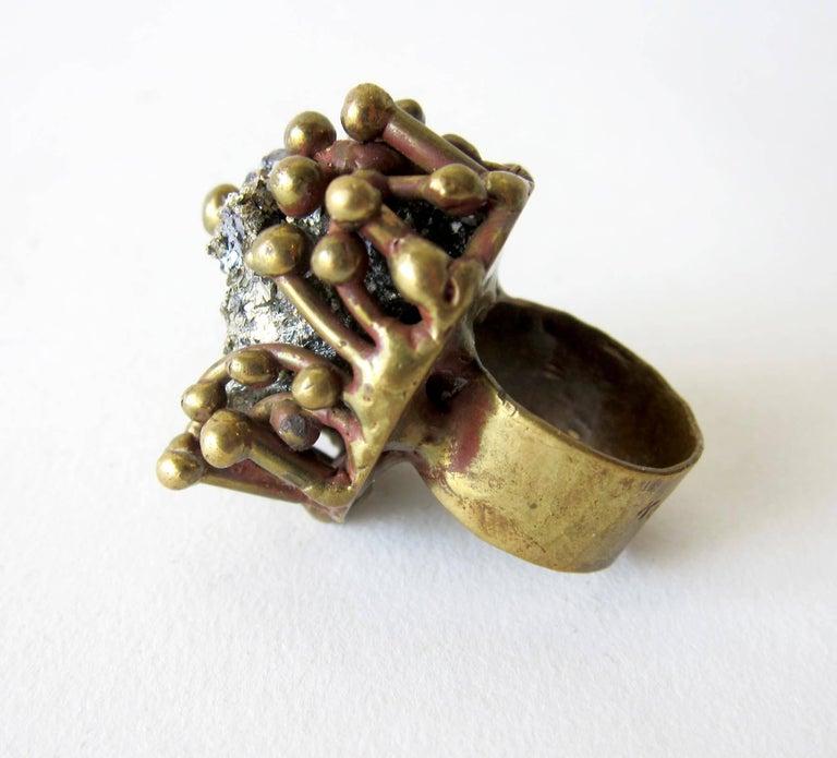 Modernist Pal Kepenyes Pyrite Bronze Brutalist Ring For Sale