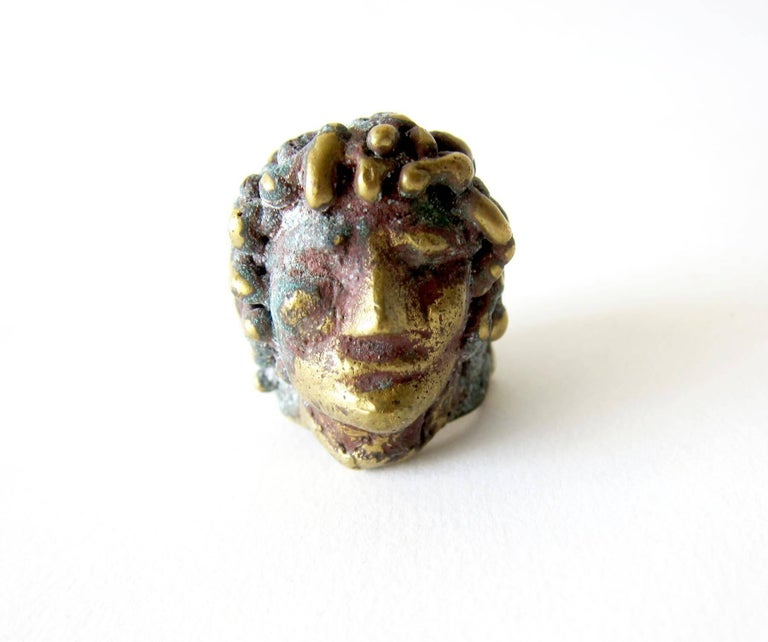 Bronze face ring with classic Roman style, created by Pal Kepenyes of Acapulco, Mexico.  Ring is a finger size 7 and is suitable for a man or woman.  In very good vintage condition.  Unsigned.