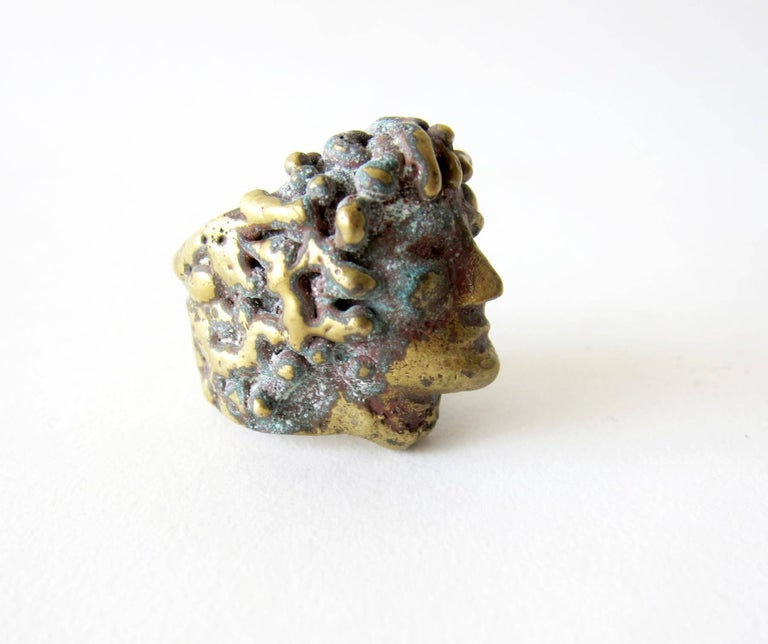 Modernist Pal Kepenyes Bronze Romanesque Face Ring For Sale
