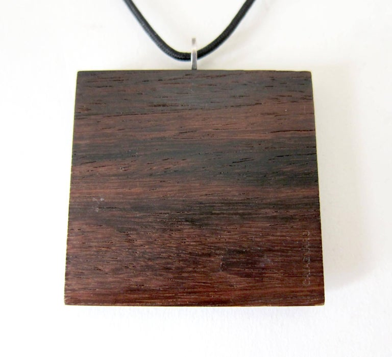 Milton Cavagnaro Sterling Silver Exotic Wood California Modernist Necklace In Good Condition For Sale In Los Angeles, CA