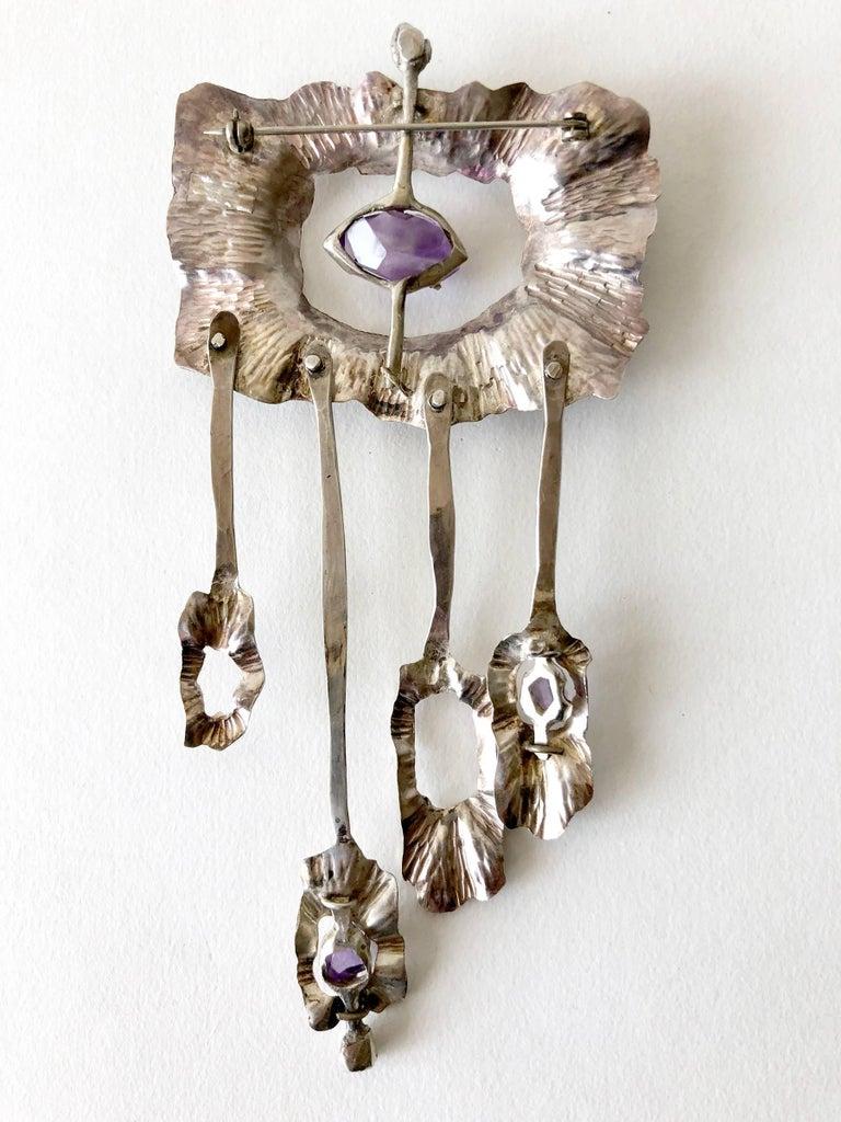 Artist Mona Trunkfield Sterling Silver Amethyst Handcrafted Modernist Brooch For Sale