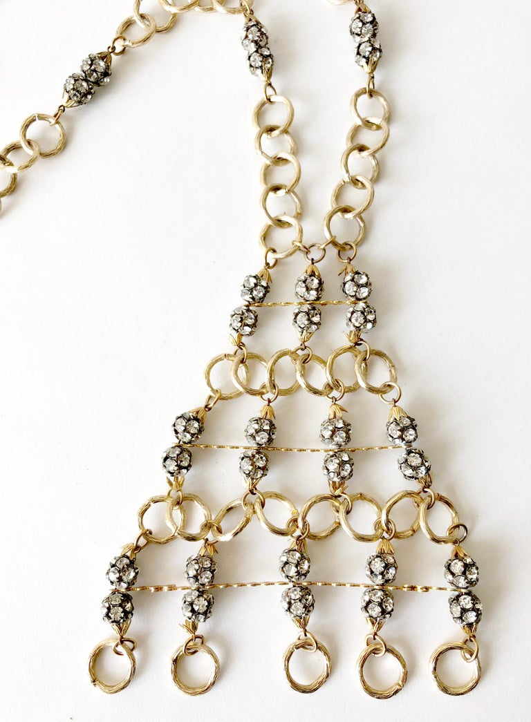 1960s Gold Toned Aluminum Rhinestone Statement Necklace In Excellent Condition For Sale In Los Angeles, CA