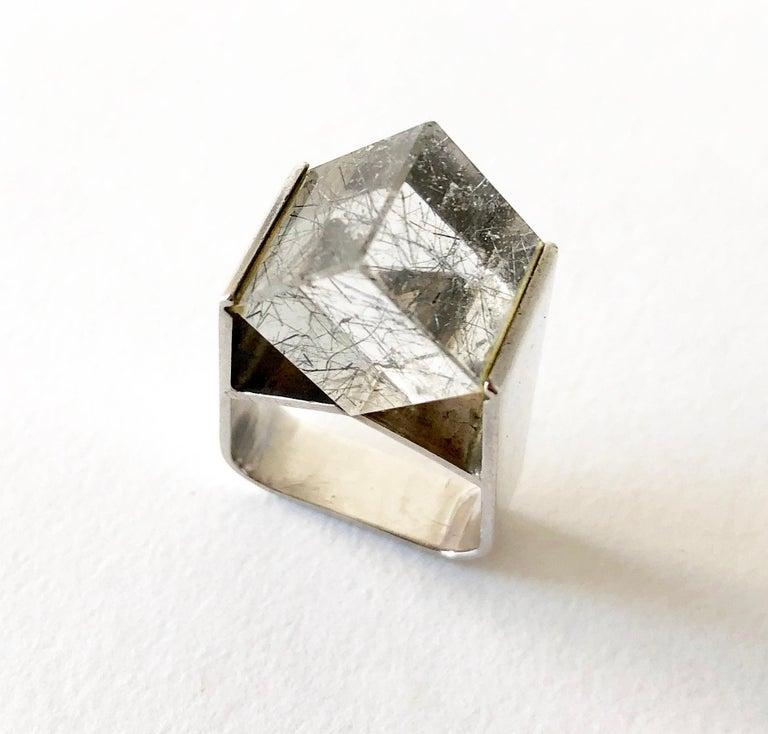 Jens Christian Thejls Sterling Silver Rutilated Quartz Danish Modernist Ring For Sale 1