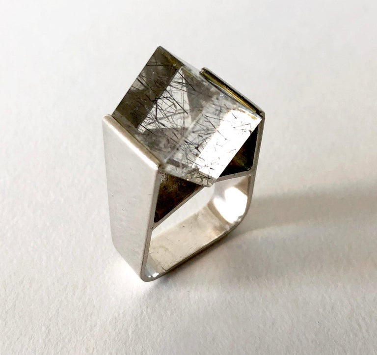 Jens Christian Thejls Sterling Silver Rutilated Quartz Danish Modernist Ring In Excellent Condition For Sale In Los Angeles, CA