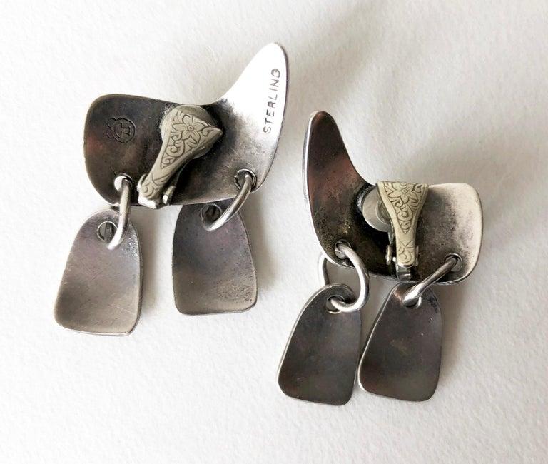 Women's Sam Kramer Sterling Silver New York Modernist Kinetic Earrings For Sale