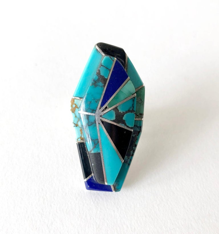 Richard Begay Sterling Silver Turquoise Onyx Lapis Lazuli Navajo Ring In Excellent Condition For Sale In Los Angeles, CA