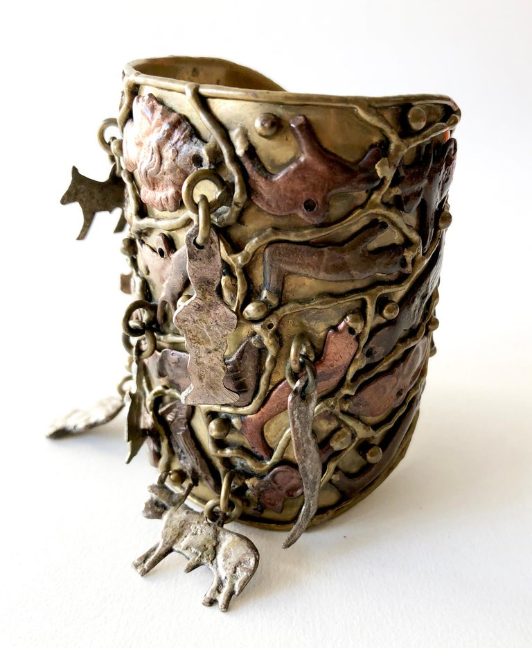 Artisan Pal Kepenyes Bronze Copper Silver Kinetic Milagros Miracles Charms Cuff Bracelet For Sale