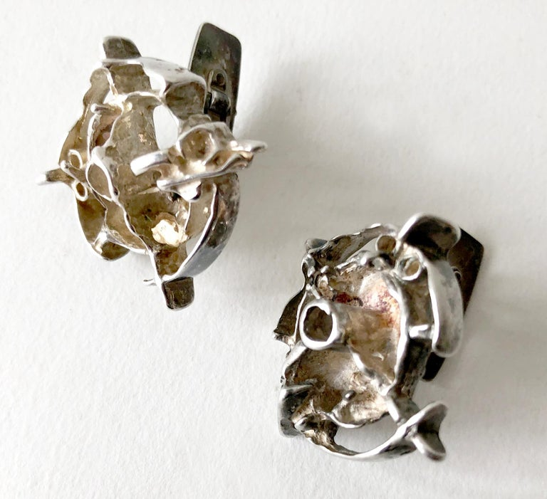 Frank Regine Juhls Sterling Silver Norwegian Modernist Tundra Series Cufflinks In Good Condition For Sale In Los Angeles, CA
