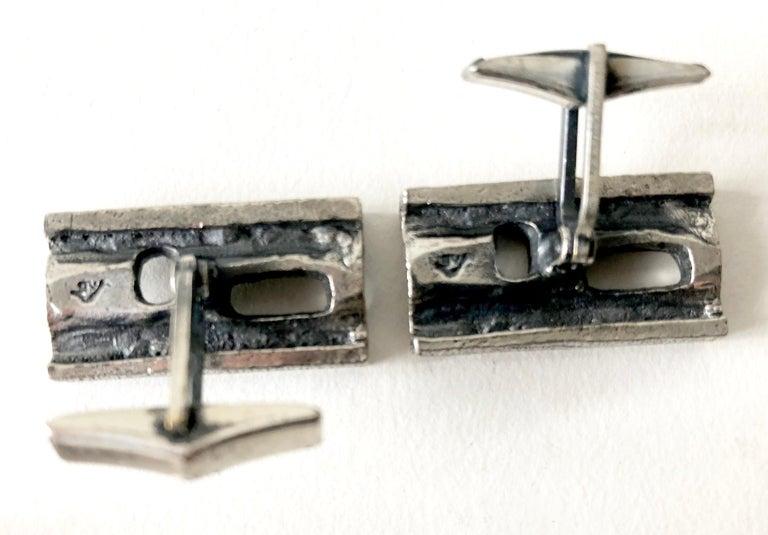 Men's Guy Vidal Pewter Alloy Abstract Modernist Cufflinks For Sale