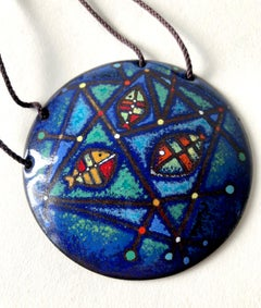 Barney Reid Enamel California Abstract Modernist Pendant Necklace