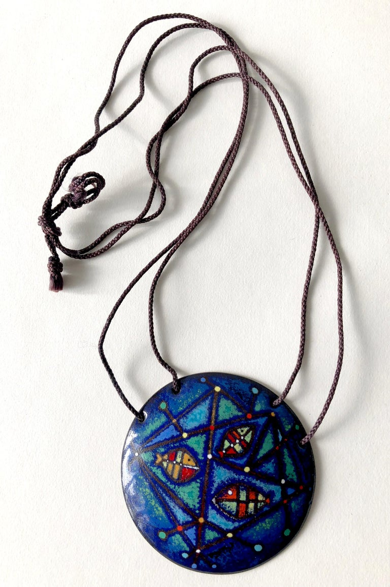 Barney Reid Enamel California Abstract Modernist Pendant Necklace In Good Condition For Sale In Los Angeles, CA