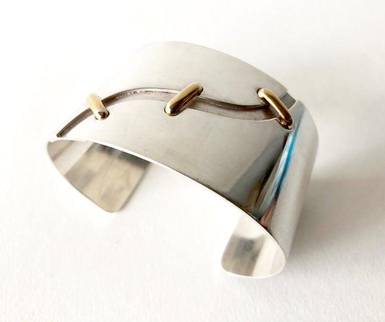 Jose Maria Puig Doria Sterling Silver Gold Spanish Modernist Cuff Bracelet In Good Condition For Sale In Los Angeles, CA