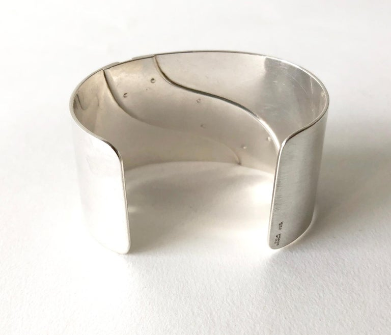 Jose Maria Puig Doria Sterling Silver Gold Spanish Modernist Cuff Bracelet For Sale 1