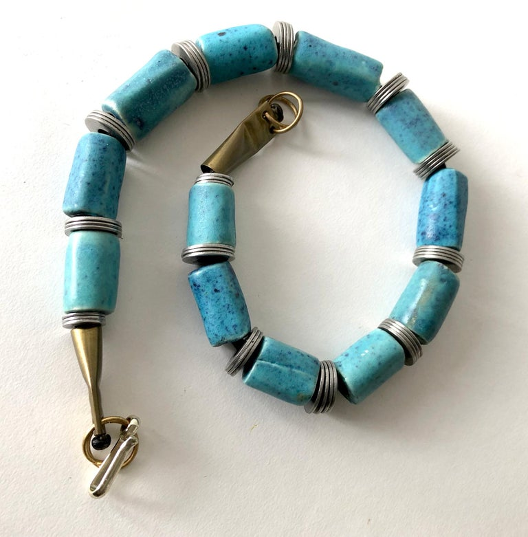Doyle Lane Turquoise Ceramic Bead Steel California Studio Necklace In Good Condition For Sale In Los Angeles, CA