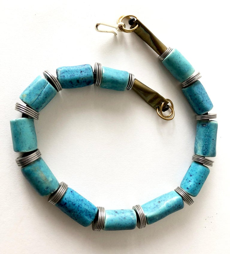 Modernist Doyle Lane Turquoise Ceramic Bead Steel California Studio Necklace For Sale