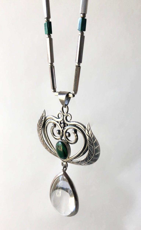 Modernist Rare Los Castillo Sterling Silver Rock Crystal Malachite Mexican Modern Necklace For Sale