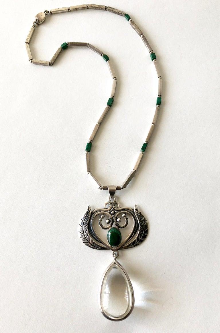 Women's Rare Los Castillo Sterling Silver Rock Crystal Malachite Mexican Modern Necklace For Sale