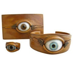 Surrealist Glass Eye Leather Ring Bracelet and Buckle