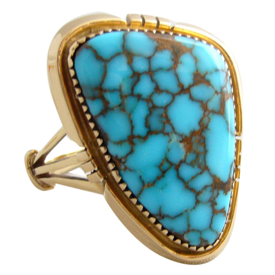 Blue Mountain Turquoise Gold Native American Ring For Sale