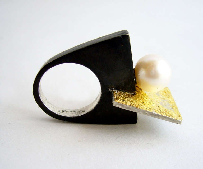 HEIDI ABRAHAMSON Sterling Silver and Pearl Ring 3