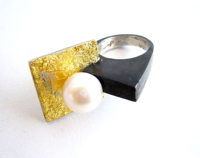 HEIDI ABRAHAMSON Sterling Silver and Pearl Ring 2