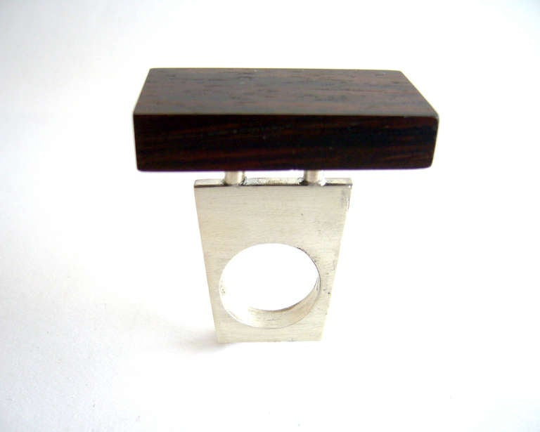 Modernist Heidi Abrahamson Rosewood Sterling Silver Ring For Sale