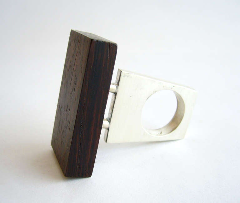 Heidi Abrahamson Rosewood Sterling Silver Ring In New Condition For Sale In Los Angeles, CA