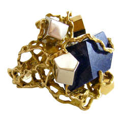 Gold Lapis Lazuli Modernist Cocktail Ring