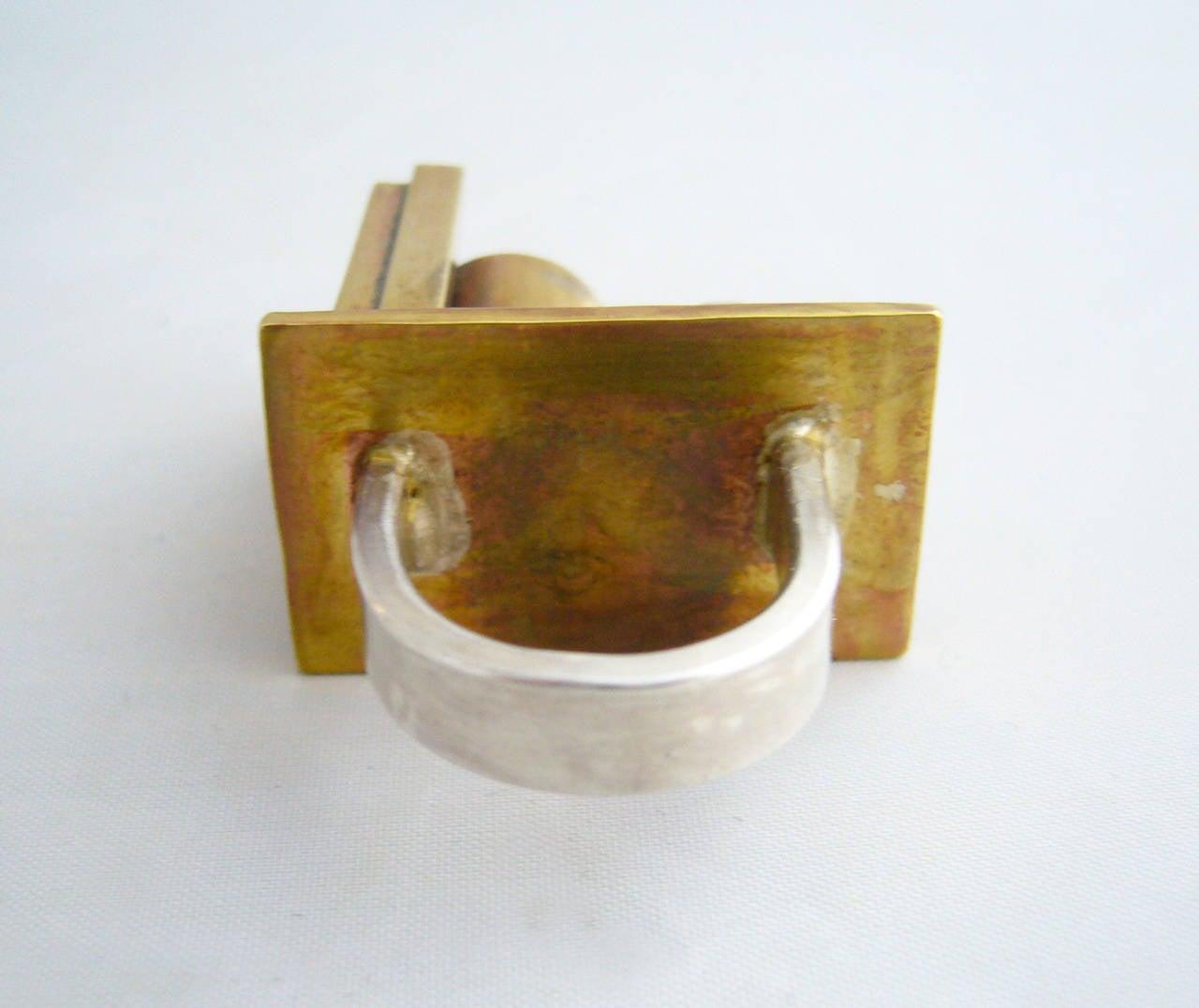 Women's Heidi Abrahamson Sterling Silver Brass Industrialist Ring For Sale