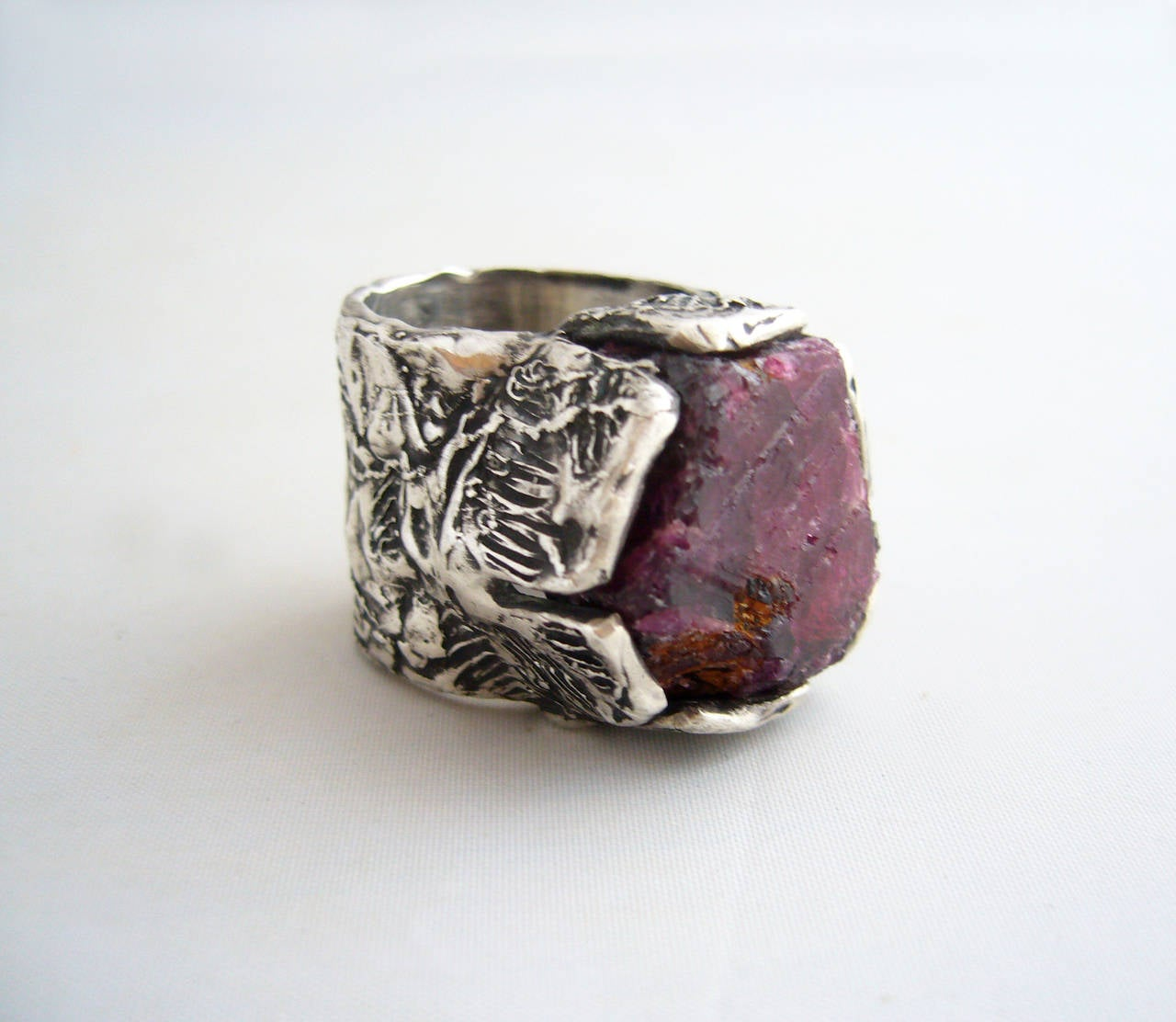 Sterling Silver Natural Raw Ruby Brutalist Ring at 1stdibs