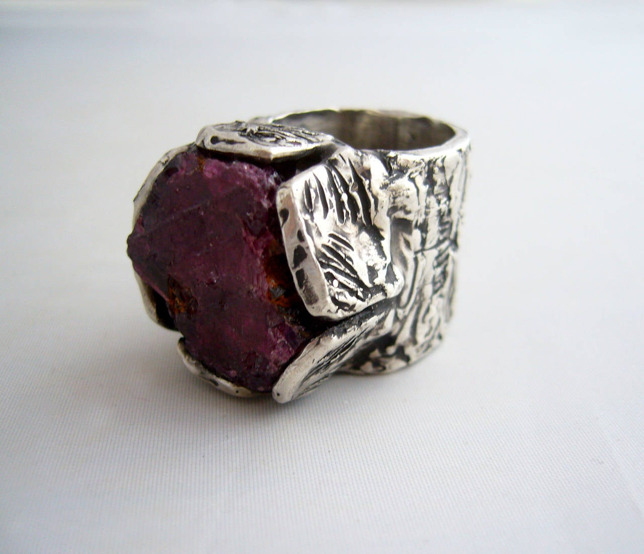 Ruby And Diamond Silver Rings