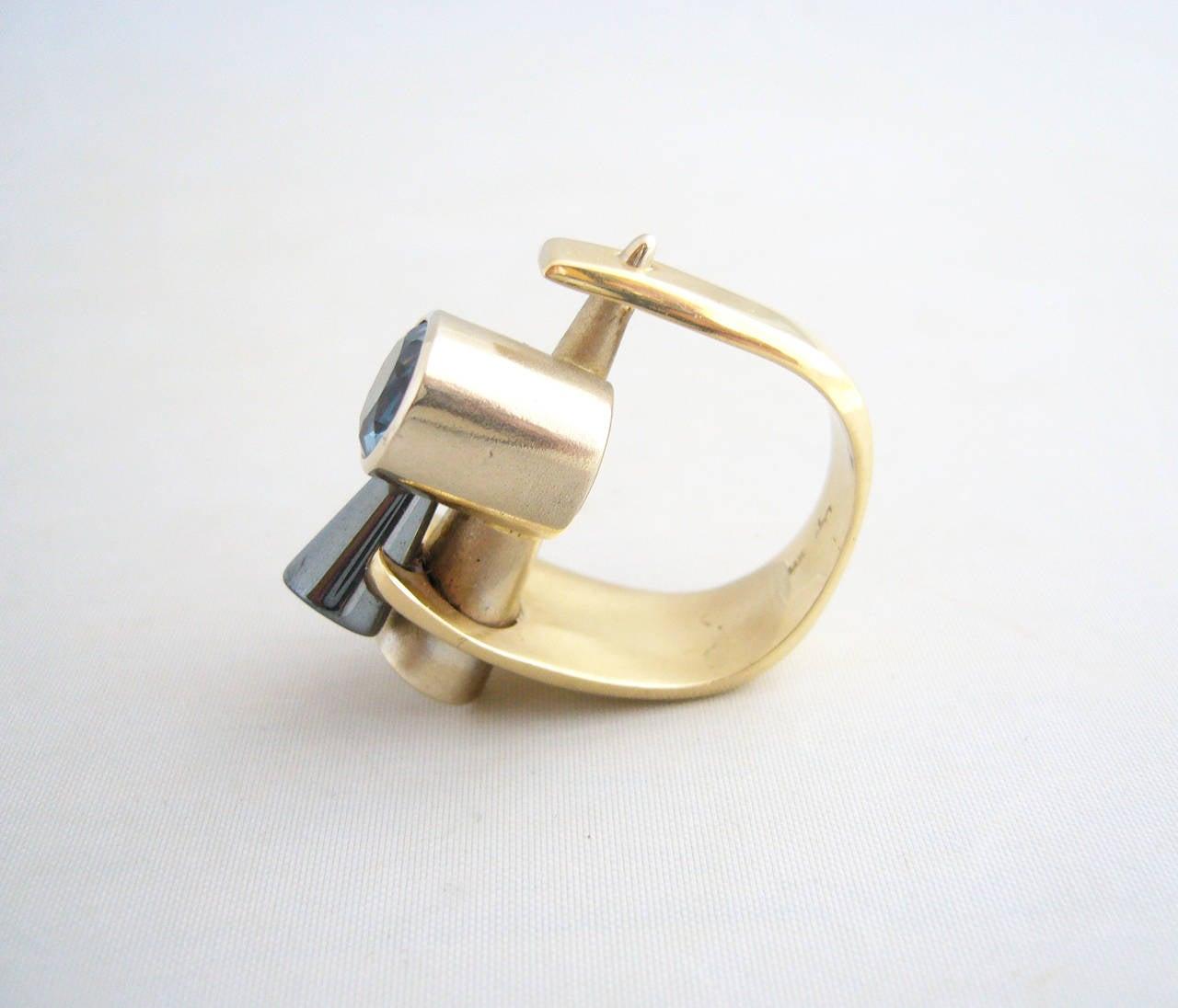 Tanzanite Gold Post Modernist Cocktail Ring 5