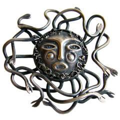 EMAUS Mexican Modernist Sterling Medusa Sun Brooch