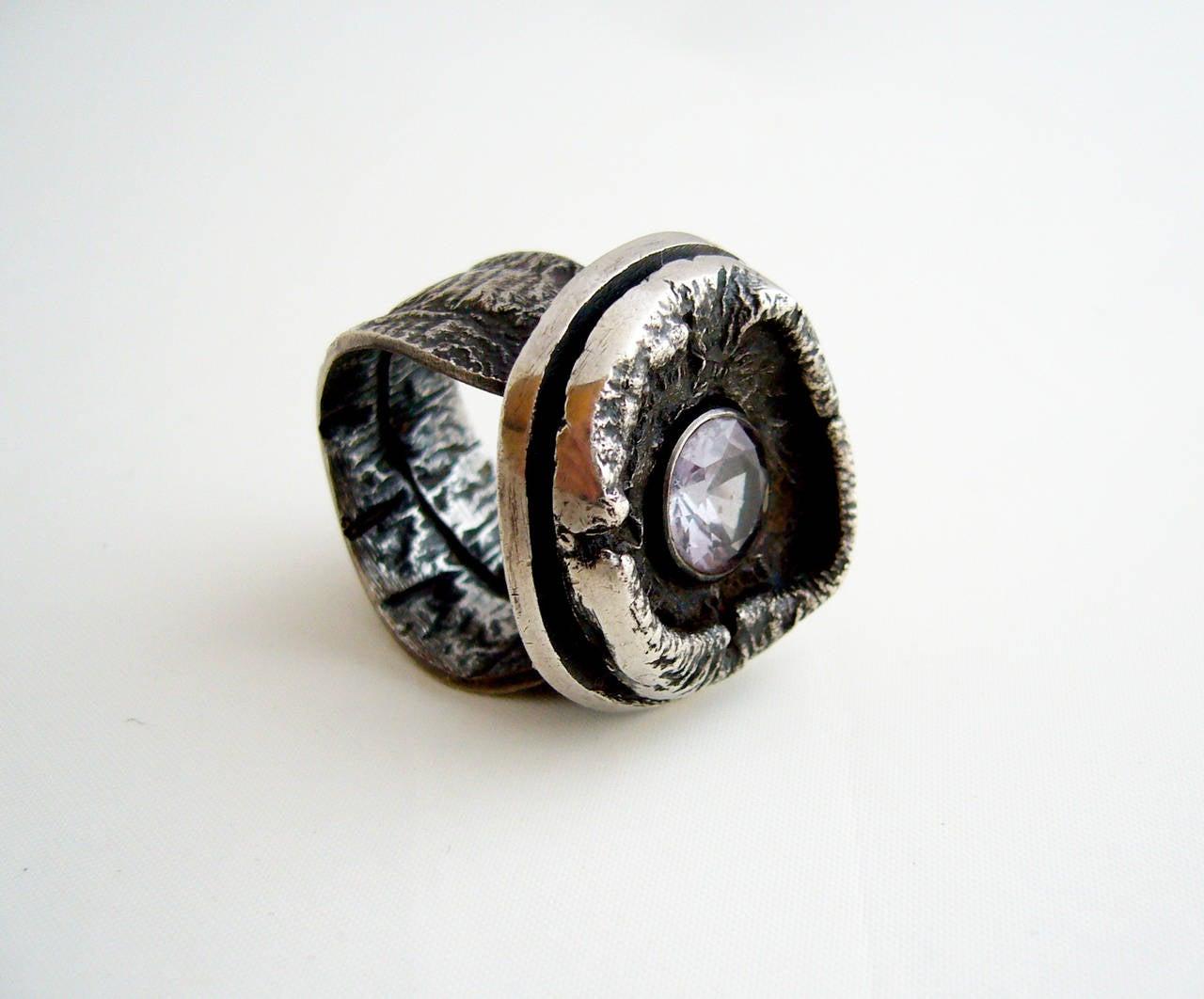 James Parker Amethyst Sterling Silver Brutalist Ring For Sale 1