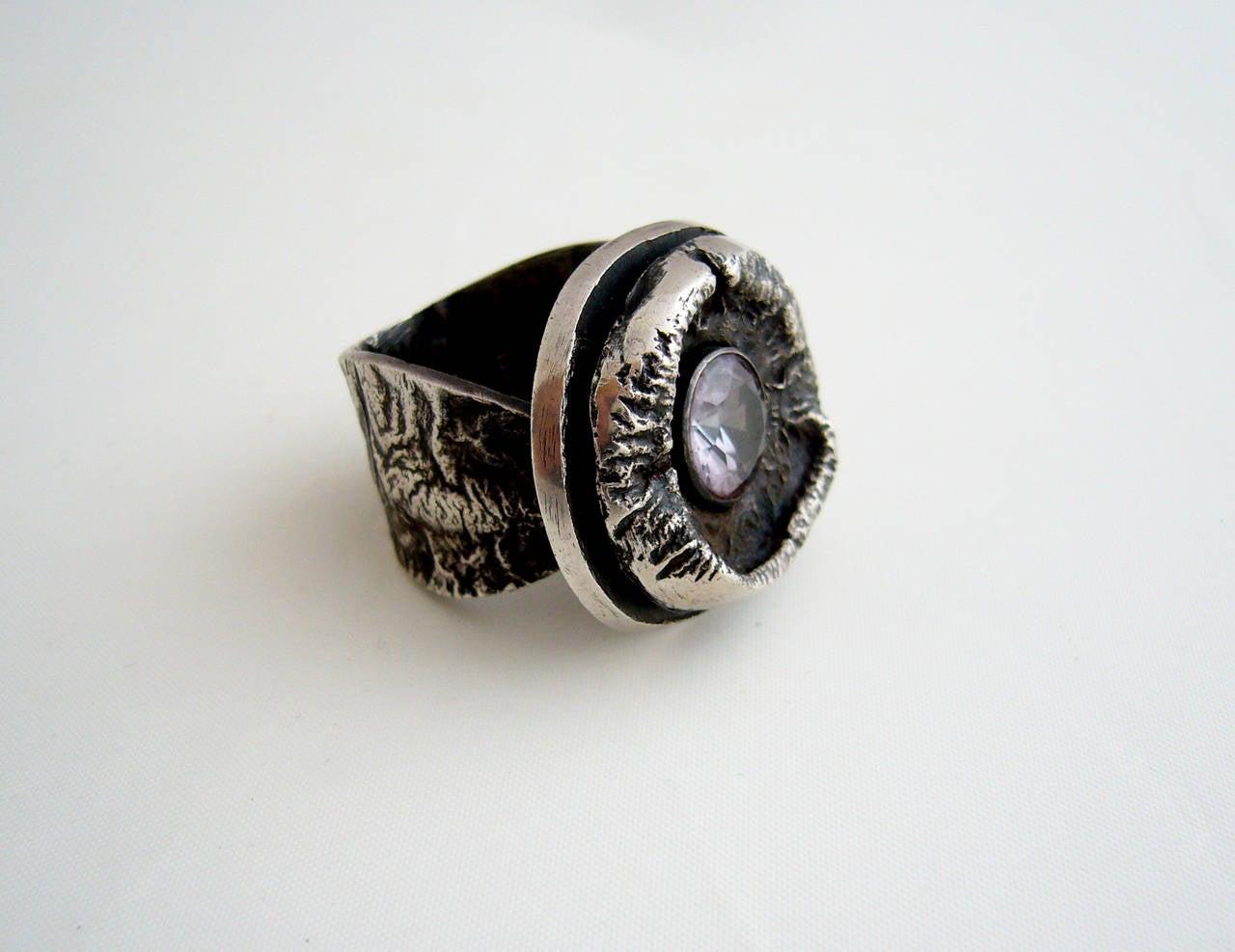 James Parker Amethyst Sterling Silver Brutalist Ring For Sale 2