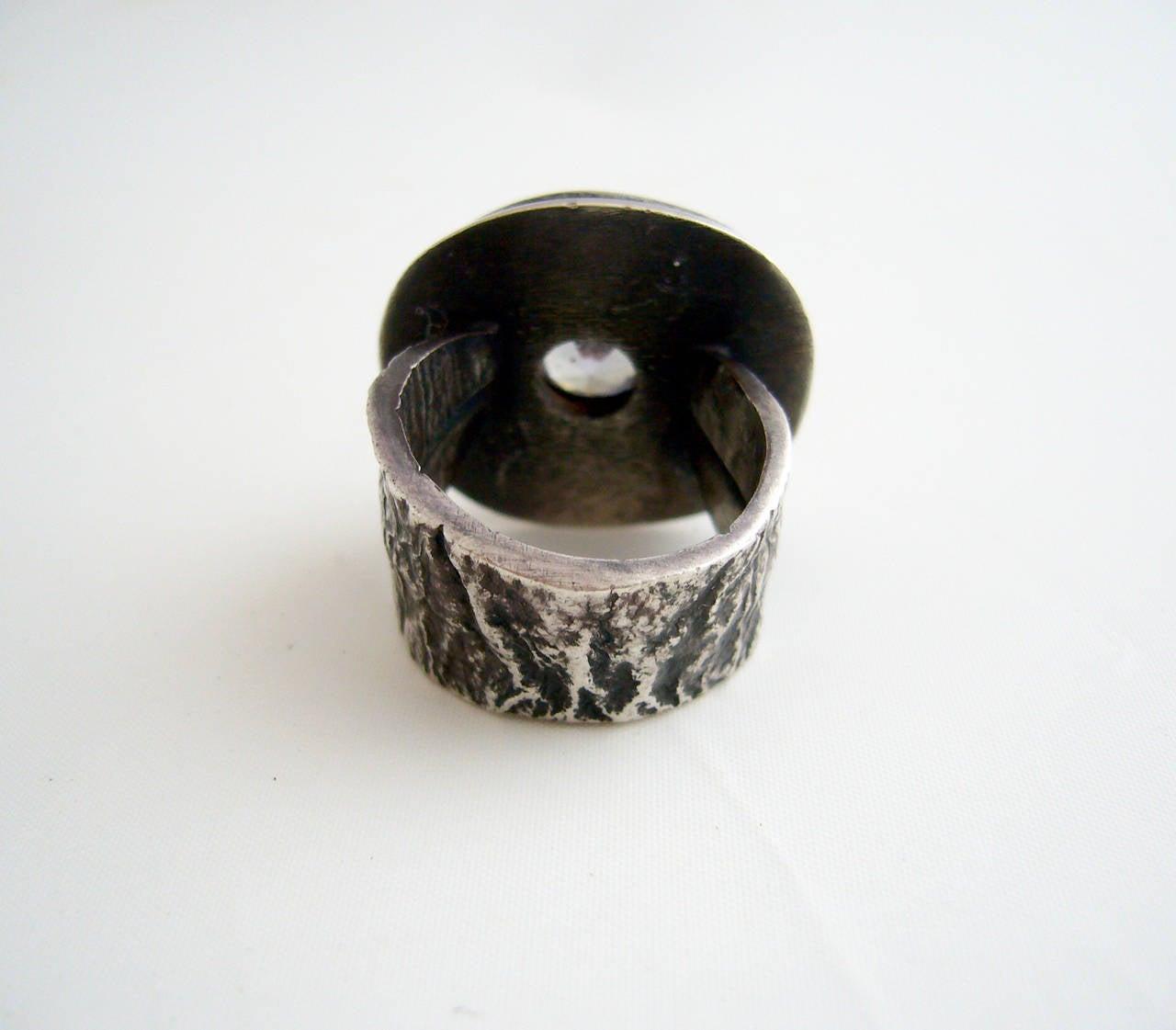 James Parker Amethyst Sterling Silver Brutalist Ring For Sale 3