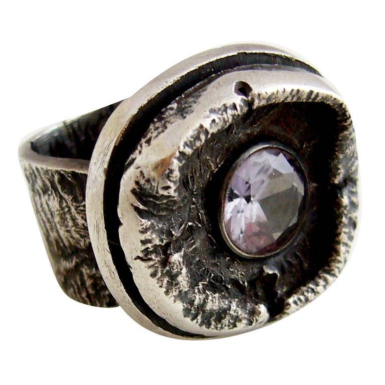 James Parker Amethyst Sterling Silver Brutalist Ring For Sale