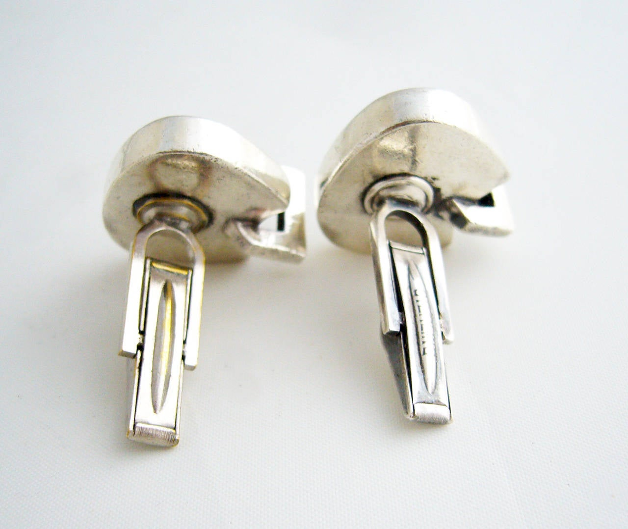 Margaret De Patta Amber Sterling Silver Cufflinks In Good Condition For Sale In Los Angeles, CA