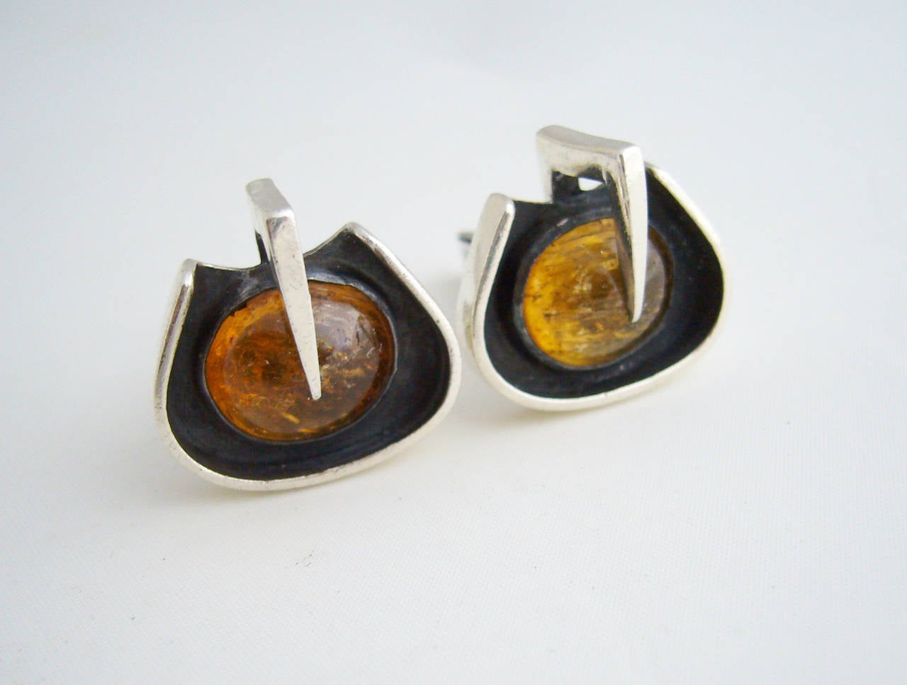 Modernist Margaret De Patta Amber Sterling Silver Cufflinks For Sale