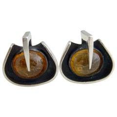 Margaret De Patta Amber Sterling Silver American Modernist Cufflinks