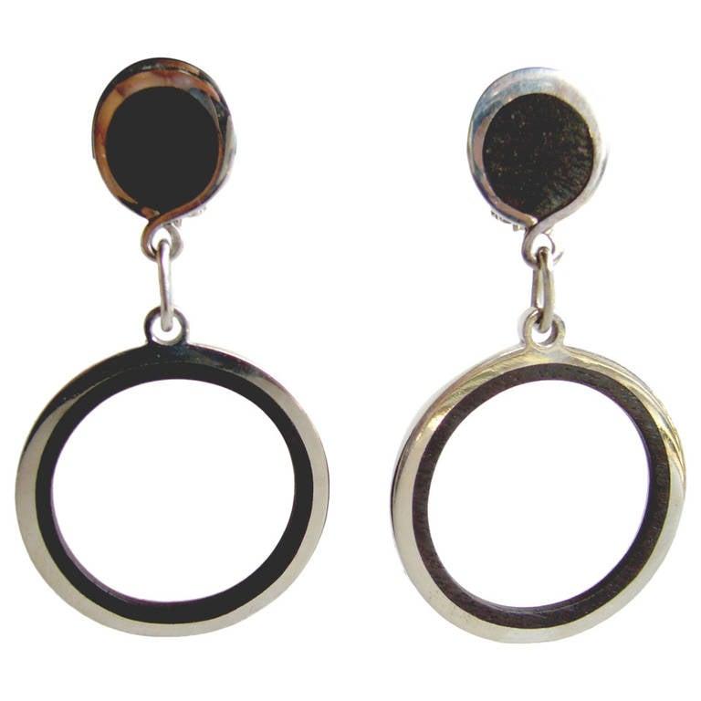 Jose Maria Puig Doria Sterling Wood Hoop Earrings For Sale