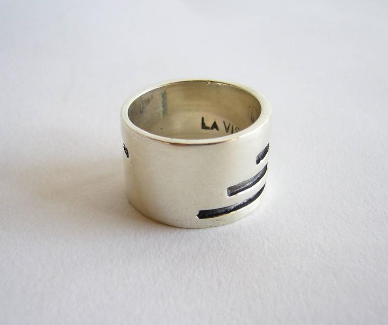 Idella La Vista Sterling Silver American Modernist Gentlemans Ring In Good Condition For Sale In Los Angeles, CA