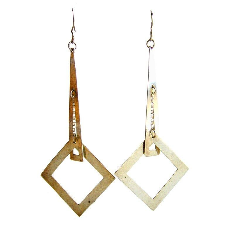 1970s Sterling Silver Geometric Dangle Earrings In Good Condition For Sale In Los Angeles, CA