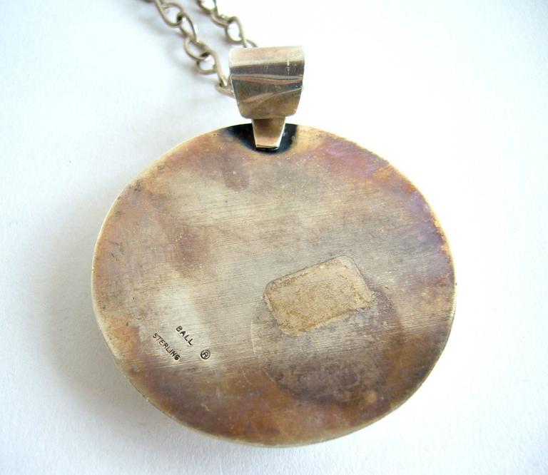 Modernist Rare Mildred Ball Enamel Sterling Silver Handmade Necklace For Sale